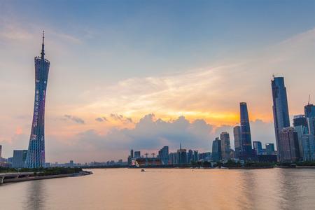 Pearl River at night, Guangzhou, China Stock Photo