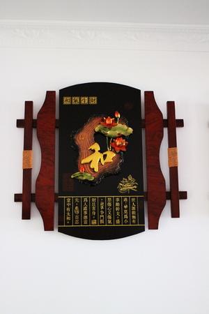 woodblock: Lotus wood relief carving decorative arts  Stock Photo