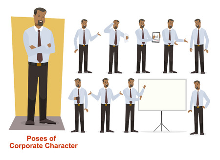Corporate Character in shirt Red trouser Afro-American Illustration