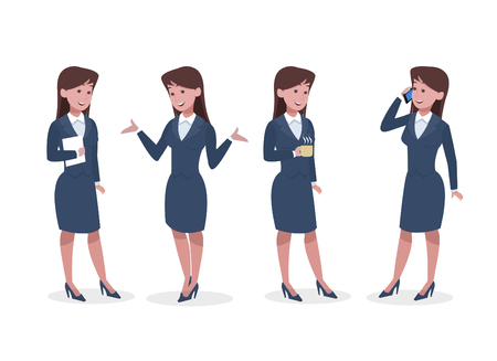 business woman in office vector illustration