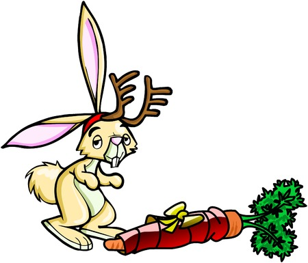 pretty rabbit with his christmas carrot  Stock Vector - 2807155