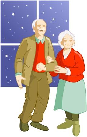 Dedicada pareja de ancianos de pie cerca de la ventana  Ilustración de vector
