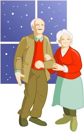 happy couple house: devoted elderly couple standing near the window Illustration