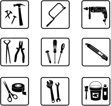 tongs: varios iconos de la industria en negro y blanco