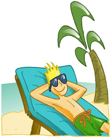 blond boy tanning on a tropical beach