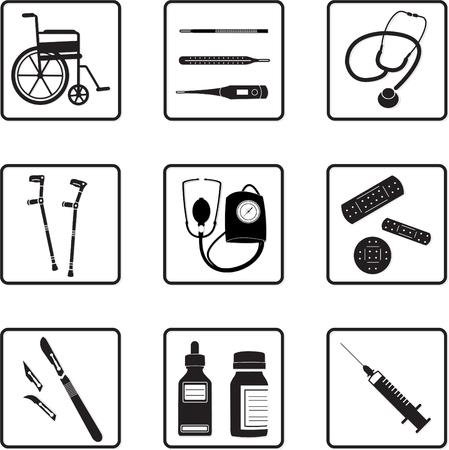 diagnostic medical tool: medical tools silhouettes in black and white