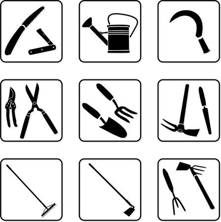 riek: Tuingereedschap zwarte en witte silhouetten Stock Illustratie
