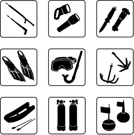 Scuba diving equipment, black and white silhouettes Vector