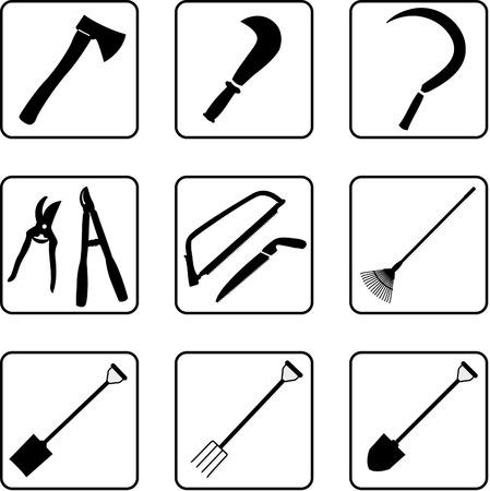 Herramientas de jardinería en blanco y negro siluetas  Ilustración de vector