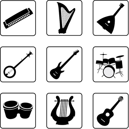 musical instruments black and white silhouettes Vector