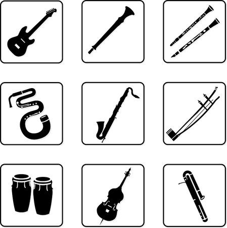 clarinete: instrumentos musicales en blanco y negro siluetas