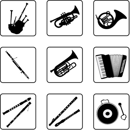 woodwind: musical instruments black and white silhouettes