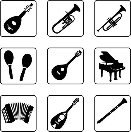 strumenti musicali in bianco e nero sagome