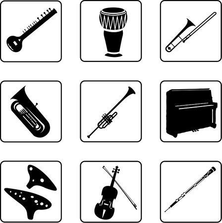 ethnical: musical instruments black and white silhouettes