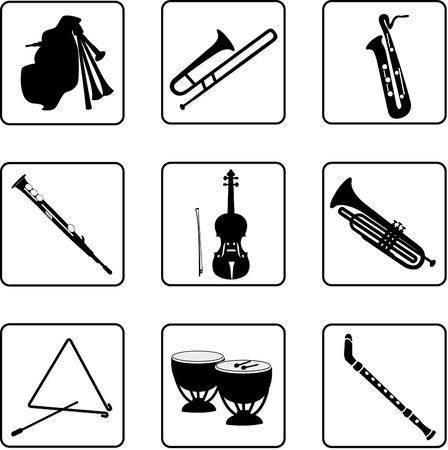 instrumentos musicales en blanco y negro siluetas  Ilustración de vector