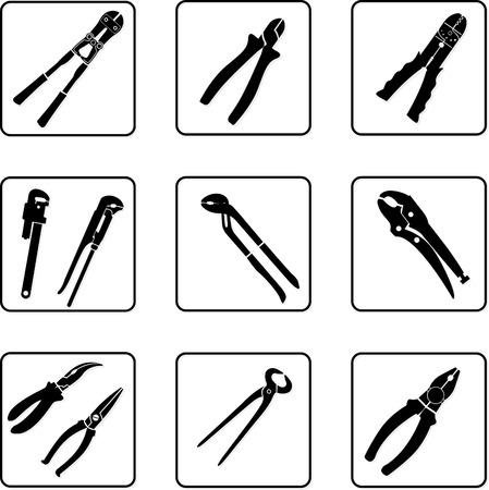 alicates: herramientas de siluetas en blanco y negro Vectores