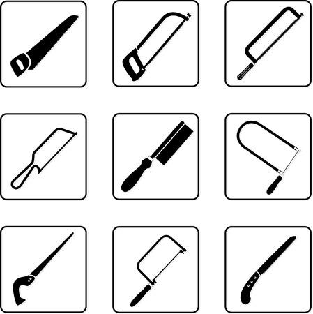 seghetto: hacksaws seghe e in bianco e nero sagome Vettoriali