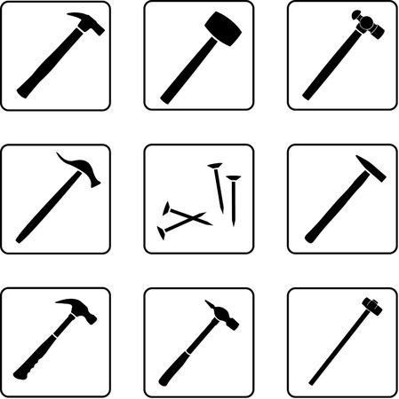 outils silhouettes noir et blanc dans une grille carrée de neuf