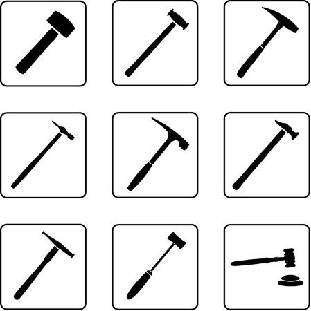veiling: hulpmiddelen zwarte en witte silhouetten in een negen vierkante raster Stock Illustratie