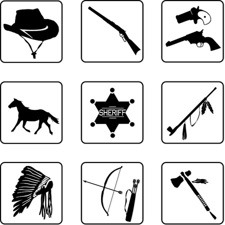 old west symbols black and white silhouettes in a nine square grid Vector