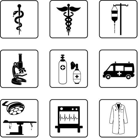 hospitalisation: m�dicales et du mat�riel symboles en noir et blanc silhouettes Illustration