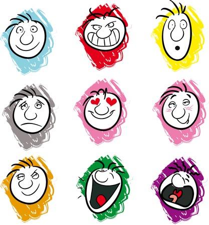 Negen illustraties verschillende emoties en stemmingen