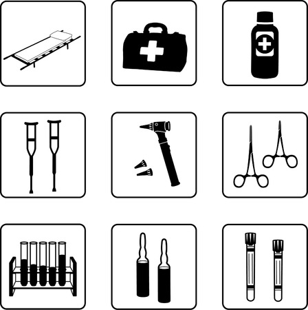 Medical equipment and tools in a nine squares grid Vector