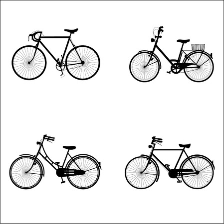 four detailed bicycles black and white silhouettes