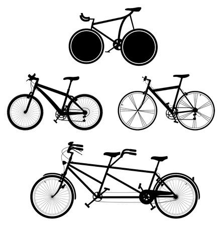 vier gedetailleerde fietsen zwarte en witte silhouetten Vector Illustratie