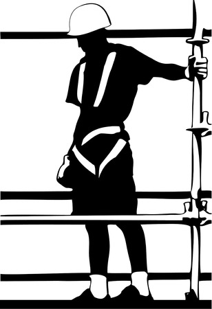 Construction worker on scaffold black and white silhouette