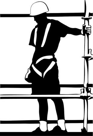 Travailleur de la construction d'échafaudage sur la silhouette en noir et blanc