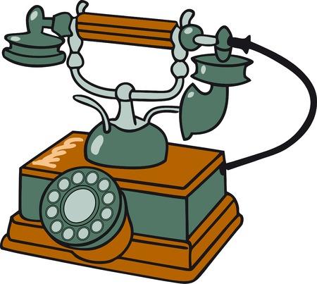 telephones: Old  table telephone Illustration
