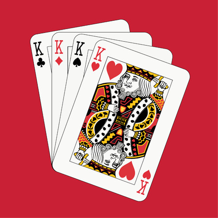 card suits: Kings poker on red background