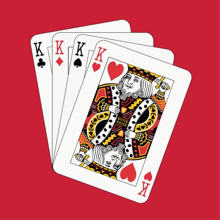 jeu de carte: Kings poker sur fond rouge