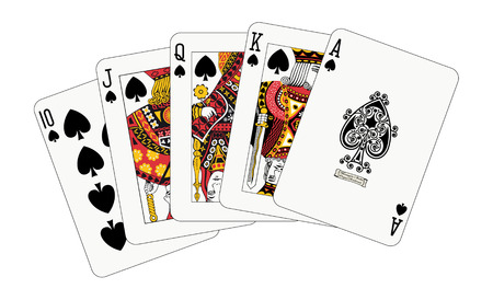 spade: Royal flush spade detailed illustration