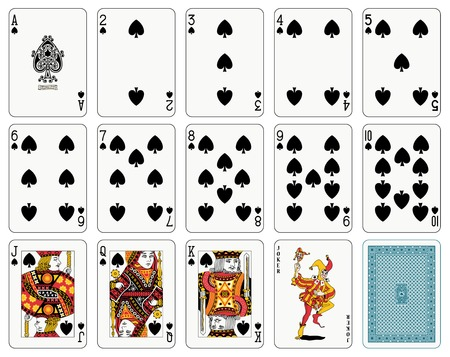 Detailed playing cards, spade suit, joker and back