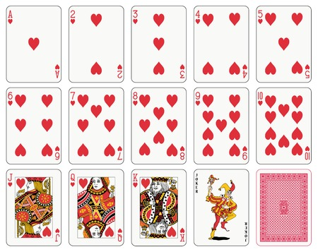 Detailed playing cards, heart suit, joker and back