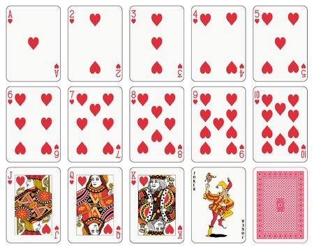 Informazioni dettagliate carte da gioco, tuta cuore, joker e ritorno Vettoriali