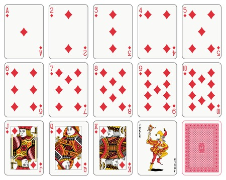 joker: Detailed playing cards, diamond suit, joker and back