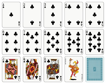 Detailed playing cards, club suit, joker and back Illustration