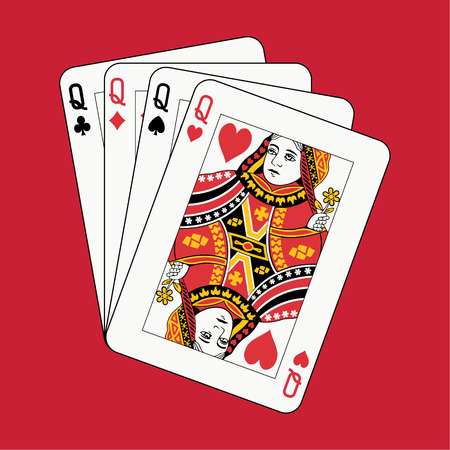 queen of clubs: Queens poker on red background Illustration