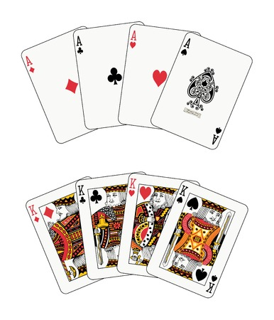 playing card set symbols: aces and kings poker