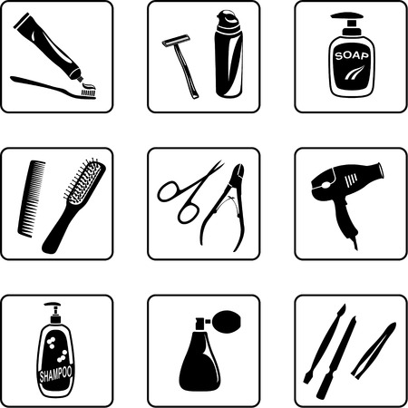 cleanliness: personal hygiene objects black and white silhouettes