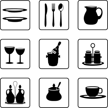 tableware objects black and white silhouettes Vector