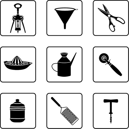 kitchenware objects black and white silhouettes Vector