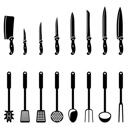 cuchillos: cuchillos de cocina y utensilios en blanco y negro siluetas Vectores