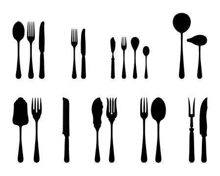 eating utensil: Silverware black and white silhouettes