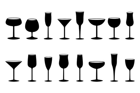 Glasses black and white silhouettes Vector