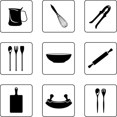 pins: kitchenware objects black and white silhouettes