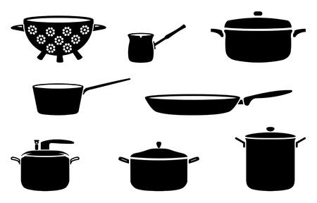 Töpfe und Pfannen Schwarz-Weiß-Silhouetten Vektorgrafik